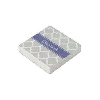 Gray White Moroccan #5 Navy Blue Name Monogram Stone Magnet
