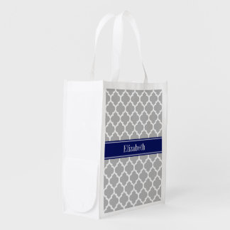 Gray White Moroccan #5 Navy Blue Name Monogram Reusable Grocery Bags