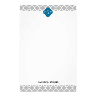 Gray White Moroccan #5 Peacock 3 Initial Monogram Personalized Stationery