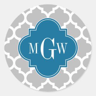 Gray White Moroccan #5 Peacock 3 Initial Monogram Classic Round Sticker