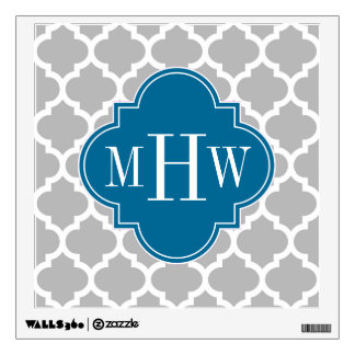 Gray White Moroccan #5 Peacock 3 Initial Monogram Wall Sticker