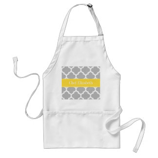 Gray White Moroccan #5 Pineapple Name Monogram Adult Apron