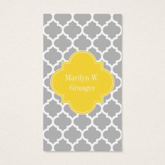 Gray White Moroccan #5 Pineapple Name Monogram Business Card