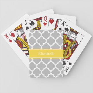 Gray White Moroccan #5 Pineapple Name Monogram Deck Of Cards