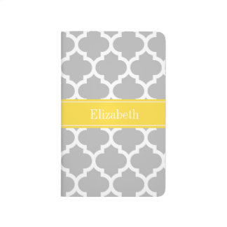 Gray White Moroccan #5 Pineapple Name Monogram Journal