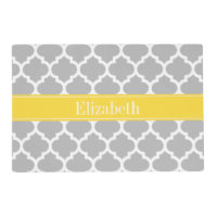 Gray White Moroccan #5 Pineapple Name Monogram Placemat
