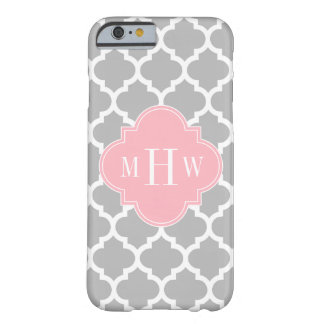 Gray White Moroccan #5 Pink 3 Initial Monogram Barely There iPhone 6 Case