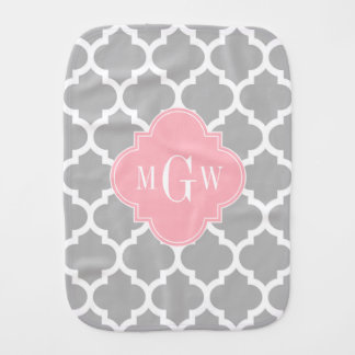 Gray White Moroccan #5 Pink 3 Initial Monogram Burp Cloth