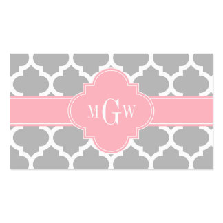 Gray White Moroccan #5 Pink 3 Initial Monogram Business Card Templates
