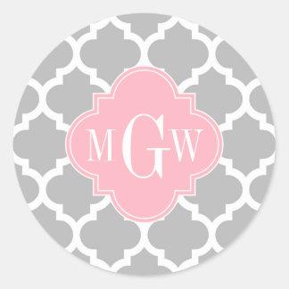 Gray White Moroccan #5 Pink 3 Initial Monogram Classic Round Sticker