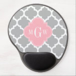 "Gray White Moroccan #5 Pink 3 Initial Monogram Gel Mouse Pad<br><div class=""desc"">Gray and White Moroccan Quatrefoil Trellis Pattern #5, Pink Quatrefoil 3 Initial Monogram Label Customize this with your 3 initial monogram, name or other text. You can also change the font, adjust the font size and font color, move the text to adjust letter spacing, etc. Please note that this is...</div>"