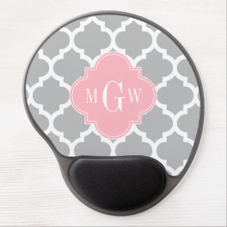 Gray White Moroccan #5 Pink 3 Initial Monogram Gel Mouse Pad