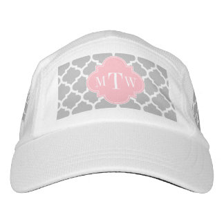 Gray White Moroccan #5 Pink 3 Initial Monogram Hat