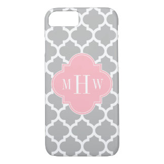 Gray White Moroccan #5 Pink 3 Initial Monogram iPhone 7 Case