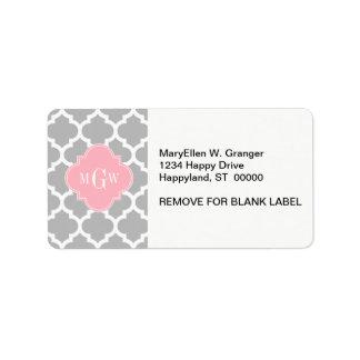 Gray White Moroccan #5 Pink 3 Initial Monogram Label