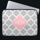 "Gray White Moroccan #5 Pink 3 Initial Monogram Laptop Sleeve<br><div class=""desc"">Gray and White Moroccan Quatrefoil Trellis Pattern #5, Pink Quatrefoil 3 Initial Monogram Label Customize this with your 3 initial monogram, name or other text. You can also change the font, adjust the font size and font color, move the text to adjust letter spacing, etc. Please note that this is...</div>"