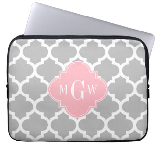 Gray White Moroccan #5 Pink 3 Initial Monogram Laptop Sleeve