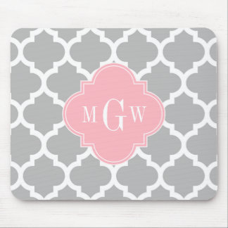 Gray White Moroccan #5 Pink 3 Initial Monogram Mouse Pad