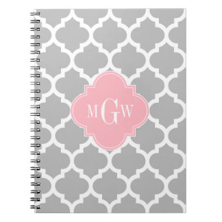 Gray White Moroccan #5 Pink 3 Initial Monogram Notebook