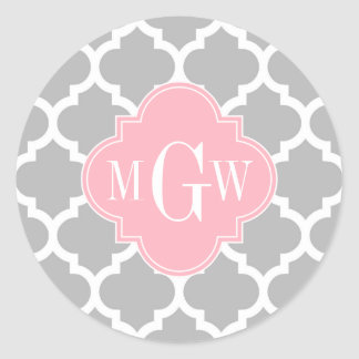 Gray White Moroccan #5 Pink 3 Initial Monogram Classic Round Sticker