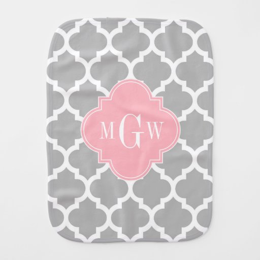Gray White Moroccan #5 Pink 3 Initial Monogram Baby Burp Cloths