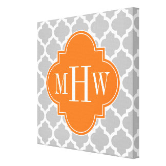 Gray White Moroccan #5 Pumpkin 3 Initial Monogram Canvas Print