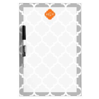 Gray White Moroccan #5 Pumpkin 3 Initial Monogram Dry-Erase Boards