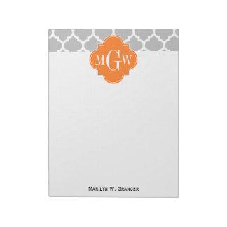 Gray White Moroccan #5 Pumpkin 3 Initial Monogram Scratch Pad