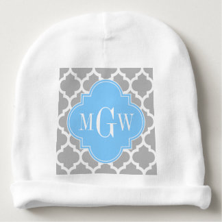 Gray White Moroccan #5 Sky Blue 3 Initial Monogram Baby Beanie