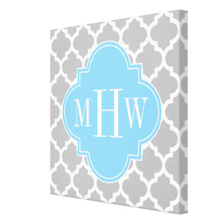 Gray White Moroccan #5 Sky Blue 3 Initial Monogram Canvas Print