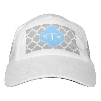 Gray White Moroccan #5 Sky Blue 3 Initial Monogram Headsweats Hat