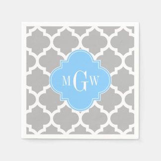 Gray White Moroccan #5 Sky Blue 3 Initial Monogram Standard Cocktail Napkin