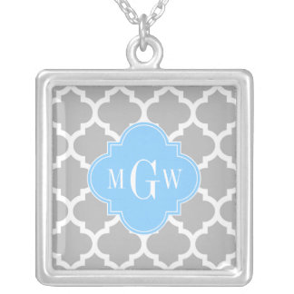 Gray White Moroccan #5 Sky Blue 3 Initial Monogram Silver Plated Necklace