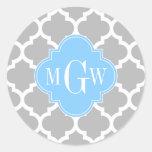 Gray White Moroccan #5 Sky Blue 3 Initial Monogram Classic Round Sticker