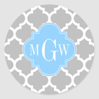 Gray White Moroccan #5 Sky Blue 3 Initial Monogram Classic Round Sticker