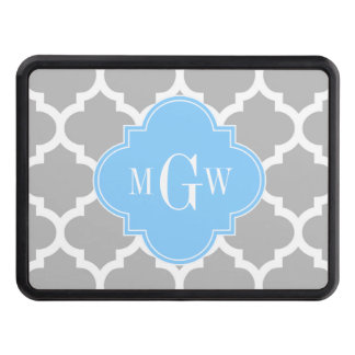 Gray White Moroccan #5 Sky Blue 3 Initial Monogram Trailer Hitch Cover