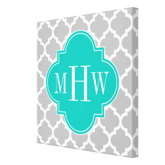 Gray White Moroccan #5 Teal 3 Initial Monogram Canvas Print
