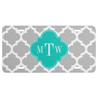 Gray White Moroccan #5 Teal 3 Initial Monogram License Plate
