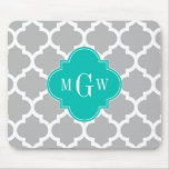 Gray White Moroccan #5 Teal 3 Initial Monogram Mouse Pad