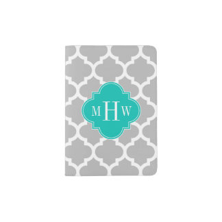 Gray White Moroccan #5 Teal 3 Initial Monogram Passport Holder