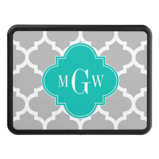 Gray White Moroccan #5 Teal 3 Initial Monogram Trailer Hitch Cover