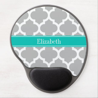 Gray White Moroccan #5 Teal Name Monogram Gel Mouse Pad