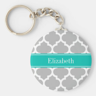 Gray White Moroccan #5 Teal Name Monogram Keychain
