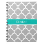 Gray White Moroccan #5 Teal Name Monogram Note Books