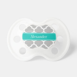 Gray White Moroccan #5 Teal Name Monogram Pacifier