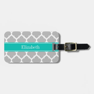Gray White Moroccan #5 Teal Name Monogram Tag For Luggage