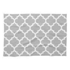 Gray White Moroccan Quatrefoil Pattern #5 Hand Towels
