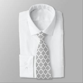 Gray White Moroccan Quatrefoil Pattern #5 Tie