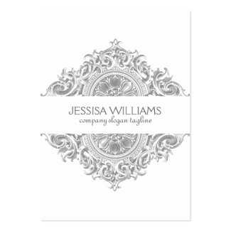 Gray & White Ornate Floral Ornament Design Large Business Cards (Pack Of 100)