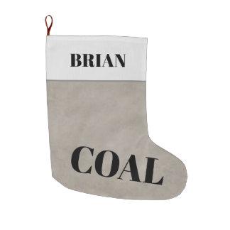 Gray White Personalized Christmas Coal Large Christmas Stocking